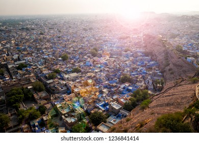 View of Jodhpur from Mehrangarh Fort with added lens flare