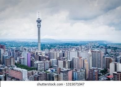 View of Johannesburg over Hillbrow near the Tower, raining / overcast morning.