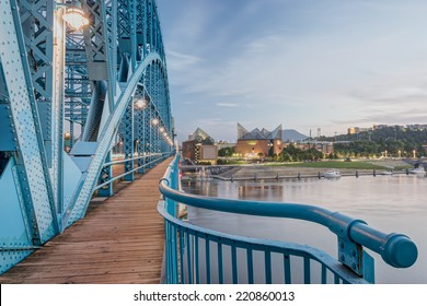 View from John Ross Bridge at Dusk, focus stacked and HDR merged. Lights on in the Chattanooga skyline and the bridge. Tennessee river in the mid-ground, sharp focus throughout.