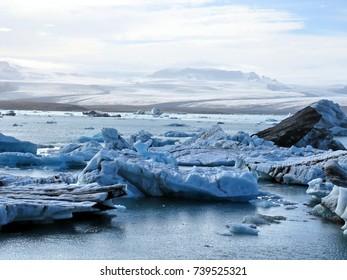 View of the Jokulsarlon Glacier Lagoon in Iceland, July 7, 2017