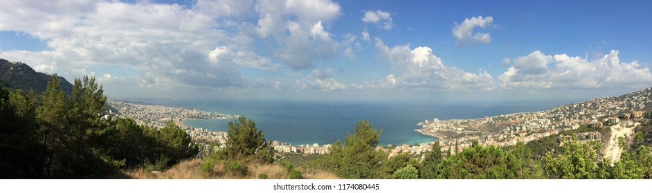 View of Jounieh bat and Beirut in a distance, Lebanon, with natural foreground