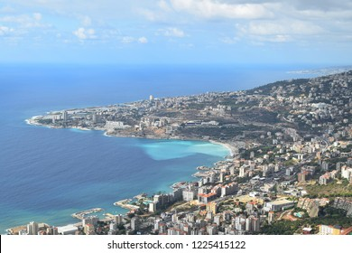 View of Jounieh and Mediterranean sea from Harissa, Lebanon