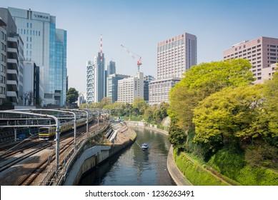 View of JR line, Kanda river and Juntendo university taken from near Ochanomizu JR station, Tokyo, Japan, 28th March 2018