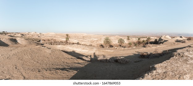 View of the Judean desert from the caves of the hermits located next to the monastery of Gerasim Jordanian - Deir Hijleh - in the Judean desert near the city of Jericho in Israel