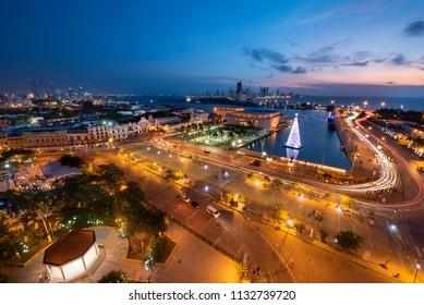 View of the  Julio Cesar Turbay Ayala Cartagena de Indias Convention Center and the neighborhood, Cartagena Colombia.