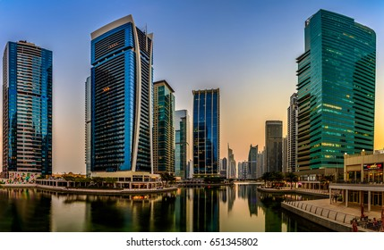 View of Jumeirah Lakes Towers during sunset. Dubai - UAE. 3 October 2016.