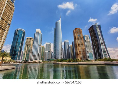 View of Jumeirah Lakes Towers skyscrapers. Dubai, UAE.