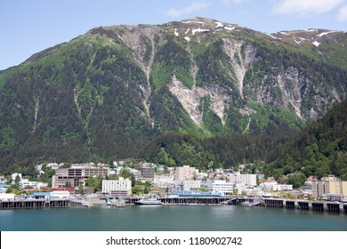 The view Juneau Mountain and Juneau downtown, the capital of Alaska.
