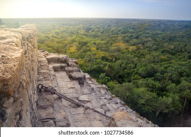 View to the jungle from the top of Nohoch Mul pyramid in ancient Mayan city Coba, Mexico