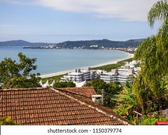 A view of Jurere Internacional beach from above - popular tourist destination - Florianopolis, Brazil