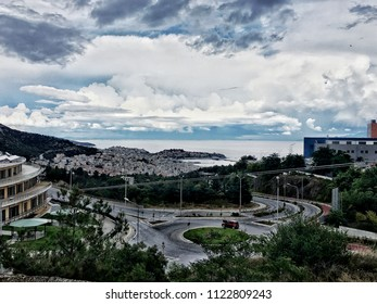 The view of Kabala city in Greece with heavy clouds