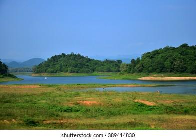 View of kaeng krachan dam in Kaeng Krachan largest national park in Phetchaburi, Thailand.