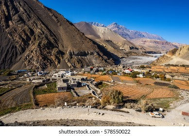 View of Kagbeni village and Mustang from the road to Muktinath