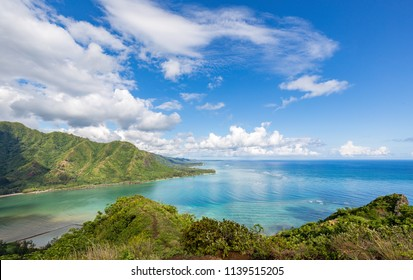 View of Kahana Bay from the dangerous Puu Manamana hike.