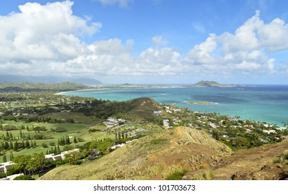 A view of Kailua from the Pillbox Trail on the island of O'ahu, Hawaii.