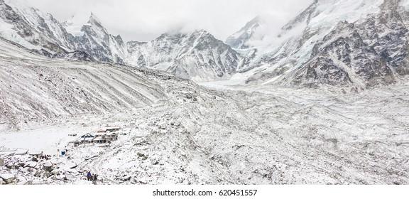 View of Kala Patthar and Gorak Shep in bad weather - Everest region, Nepal, Himalayas
