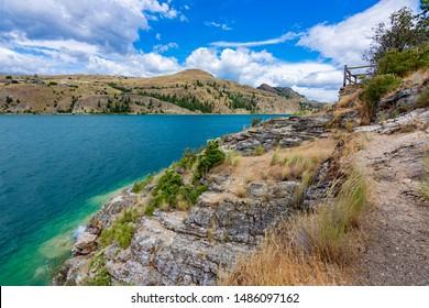 View of Kalamalka Lake from Kalamalka Lake Provincial Park near Vernon British Columbia Canada on a summer day