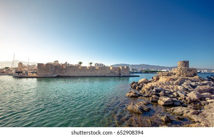 View of the Kales Venetian fortress at the entrance to the harbour, Ierapetra, Crete, Greece