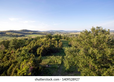 View of the Kali basin and Salfold from the lookout tower on Csonge hill in Hungary.