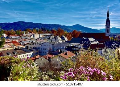 View from Kalvarienberg over Bad Toelz, Germany