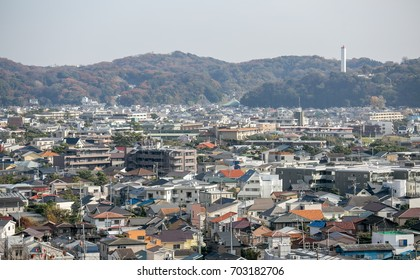 View of Kamakura a small city with seaview near Tokyo, Japan
