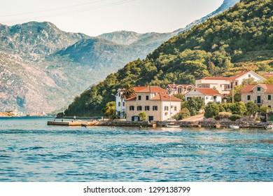 View of the Kamenari - Lepetani ferry service in the Bay of Kotor, Montenegro.