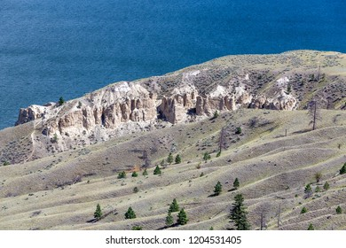 View of Kamloops Hoodoos in July, looking towards Kamloops, Thompson-Okanagan, British Columbia, Canada