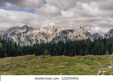 View of Kamnik Savinja alps, Slovenia, from Velika Planina. High summer alpine mountain landscape. View of Mount Skuta, Grintovec.