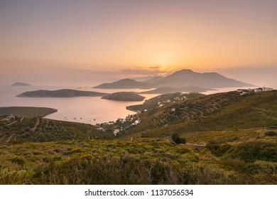 View of Kampi village on Fourni island and Kisiria, Thymaina and Ikaria islands in the background.