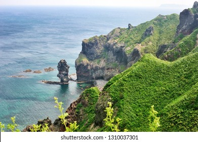 View of Kamui cape, the Shakotan Peninsula in western Hokkaido, Japan.