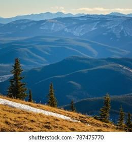The View of Kananaskis Mountains and Foothills from Prairie Mountain near Bragg Creek, and Calgary, Alberta, Canada