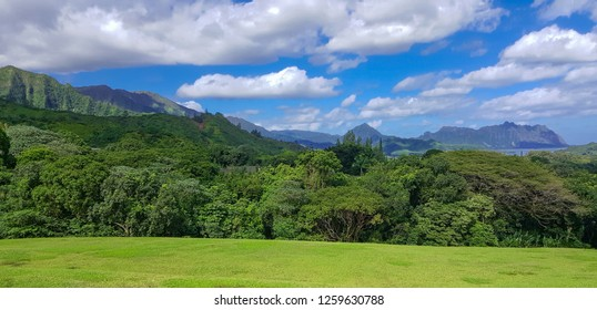 View of Kaneohe Bay from the Koolau Mountains in Hawaii