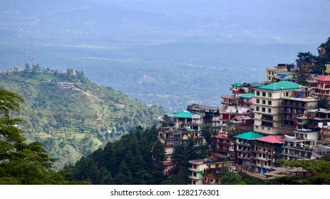 View of Kangra Valley and Mountain Homes from Upper Dharamshala on a Sunny Summer Day