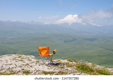 View from the Kanjol plateau to the Caucasus Mountains and Elbrus in clear sunny day, Russia