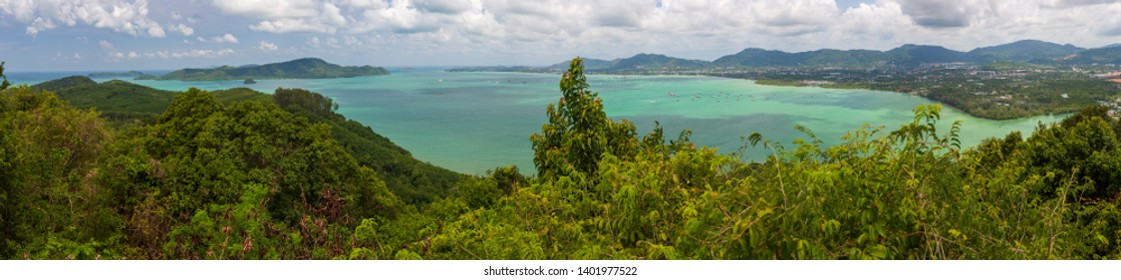 View from the Kao Khad Viewing Tower to the Chalong Bay, island Phuket, Thailand