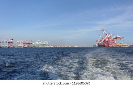 View of the Kaohsiung container port in Taiwan from the water