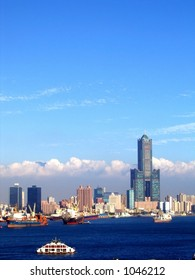 View of Kaohsiung Harbor in Taiwan -- in the back is the 80 story trade center