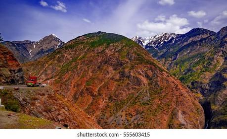 view to karakoram highway and valley, Karakoram, Pakistan