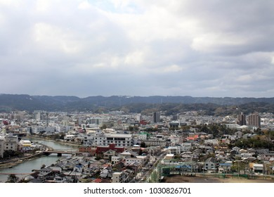 The view of Karatsu city from the castle. It's located by the sea. Taken in February 2018.