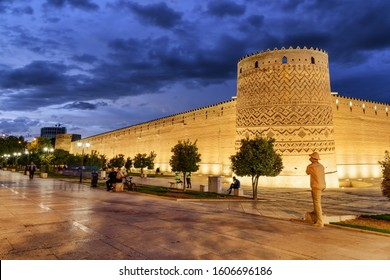 View of the Karim Khan Citadel (Arg-e-Karim Khan) in Shiraz, Iran. Amazing Iranian architecture. The fortress is a popular tourist attraction of the Middle East.