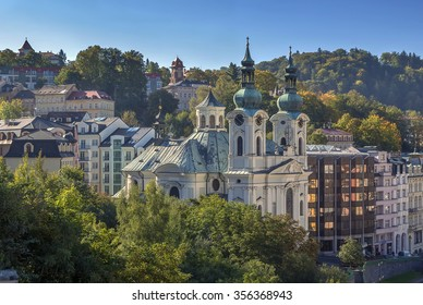 View of Karlovy Vary with Church of St. Mary Magdalene, Czech republic