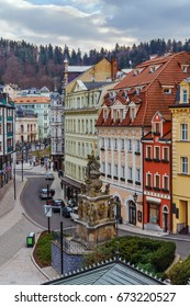 View of Karlovy Vary city center with Holy Trinity Column, Czech republic