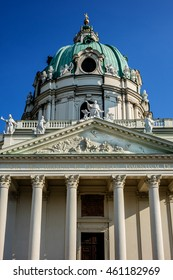 View of Karlskirche (St. Charles's Church, 1737) - one of the city's greatest buildings. Karlskirche is dedicated to Saint Charles Borromeo. Vienna, Austria.