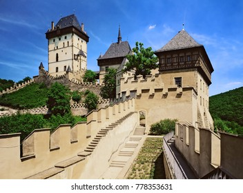 View to Karlstejn castle from down court yard