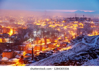 View of Kars city from the hill at night, Kars, Turkey.