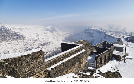 View of Kars city through the castle of Kars. Kars is a city in northeast Turkey and the capital of Kars Province.