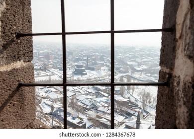 View of the Kars city. Winter. Kars, Turkey.