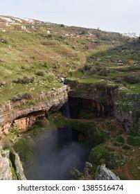 view of the karstic area in Mount Lebanon called the three bridges baatara sinkhole