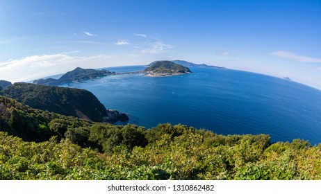 View in Kashiwajima island from a Odoyama mountain observatory, Kochi prefecture, japan