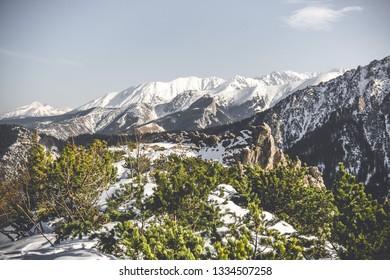 View of the Kasprowy Wierch Tatras mountain from the top of Sarnia Skala, Zakopane, Poland.